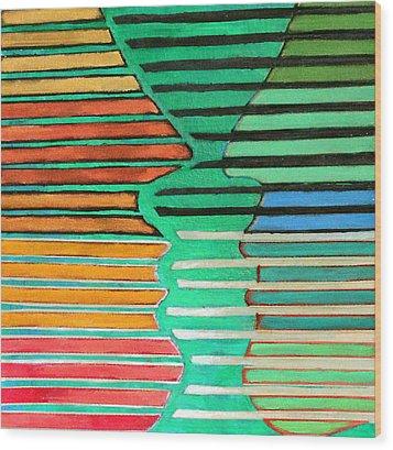 Talking Heads Wood Print by Diane Fine