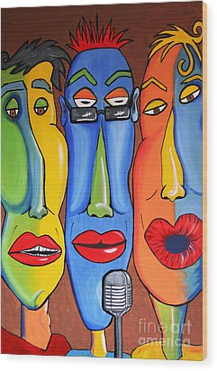 Wood Print featuring the painting Talking Heads by Vickie Scarlett-Fisher