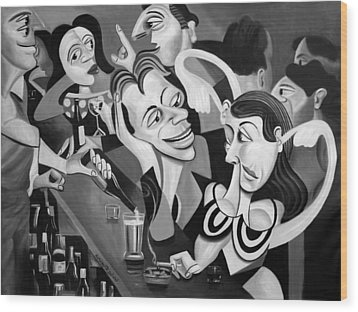 Talking Sweet Nothings At The Bar Wood Print by Anthony Falbo