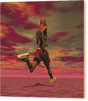Tall Runner Wood Print by Walter Oliver Neal