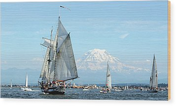 Tall Ship And Mount Rainier Wood Print