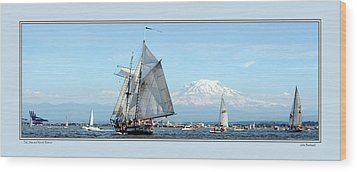 Tall Ship And Mt. Rainier Wood Print