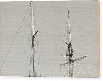 Tall Ship At Dock Wood Print by Barbara Bardzik