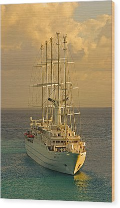 Tall Ship Cruise Wood Print by Dennis Cox WorldViews