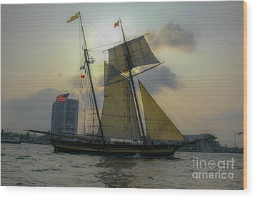 Wood Print featuring the photograph Tall Ship In Charleston by Dale Powell