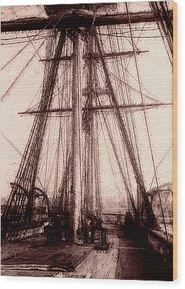 Tall Ship Wood Print by Jack Zulli