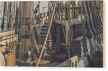 Tall Ship Kalmar Nyckel Ropes Wood Print by Dapixara Art