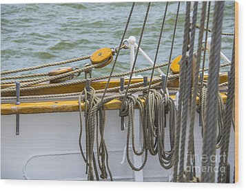 Wood Print featuring the photograph Tall Ship Rigging by Dale Powell