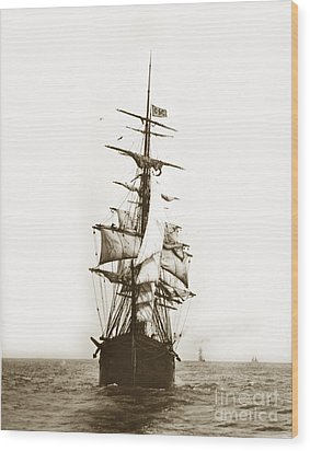 Wood Print featuring the photograph Tall Ship Sailing Out Of San Francisco California Circa 1900 by California Views Mr Pat Hathaway Archives