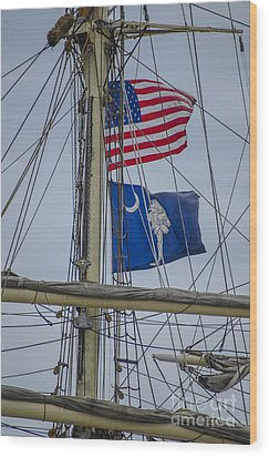 Wood Print featuring the photograph Tall Ships Flags by Dale Powell