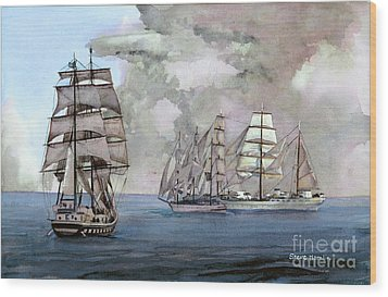 Tall Ships Off Newport Wood Print by Steve Hamlin