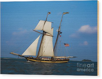 Wood Print featuring the digital art Tall Ships Over Charleston by Dale Powell