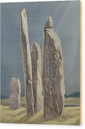 Tall Stones Of Callanish Isle Of Lewis Wood Print by Evangeline Dickson
