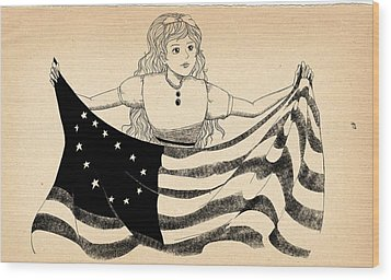 Wood Print featuring the drawing Tammy And The Flag by Reynold Jay