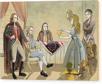 Wood Print featuring the painting Tammy Meets Betsy Ross And George Washington by Reynold Jay