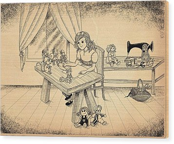 Wood Print featuring the drawing Tammy Meets Alfred The Mouse by Reynold Jay