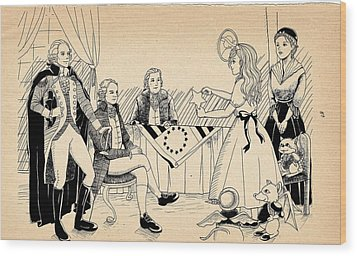 Wood Print featuring the drawing Tammy Meets Betsy Ross by Reynold Jay