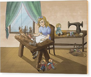 Wood Print featuring the painting Tammy The Little Doll Girl  by Reynold Jay