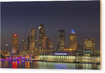 Tampa Lights At Dusk Wood Print by Marvin Spates
