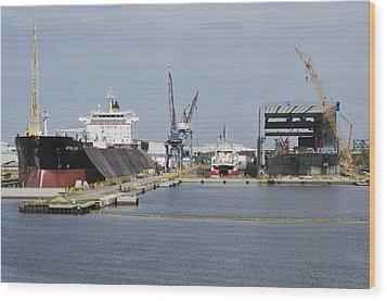 Tampa Shipyard Wood Print