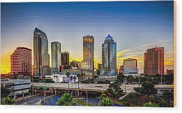 Tampa Skyline Wood Print by Marvin Spates