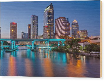 Tampa Skylines Wood Print by RC Pics