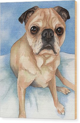 Tan And Black Pug Dog Wood Print by Cherilynn Wood