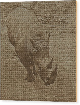 Tan Rhino Wood Print