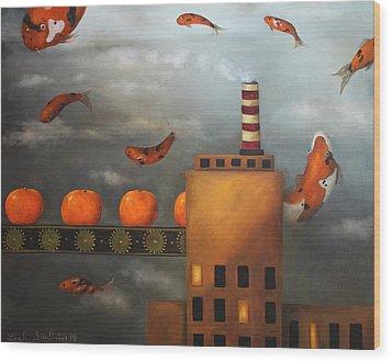Tangerine Dream Wood Print by Leah Saulnier The Painting Maniac