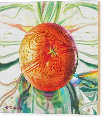 Wood Print featuring the painting Tangerine Orb Nouveau by Robin Moline