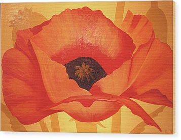 Tangerine Poppy Wood Print by Linda Hiller