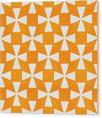 Tangerine Twirl Wood Print by Linda Woods