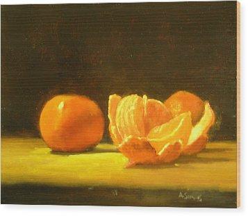 Tangerines Wood Print by Ann Simons