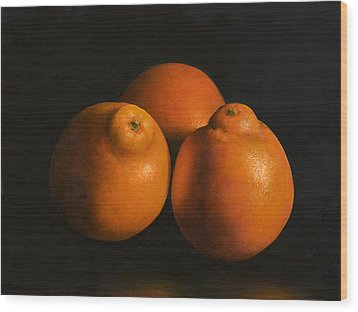 Tangerines Wood Print by Anthony Enyedy