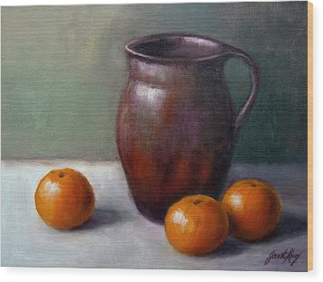 Wood Print featuring the painting Tangerines by Janet King