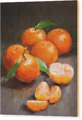 Tangerines Wood Print by Robert Papp