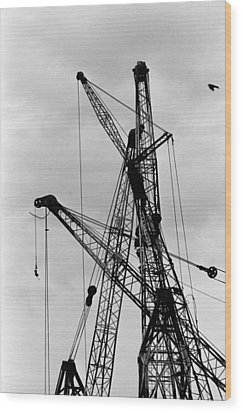 Tangled Crane Booms Wood Print