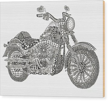 Tangled Harley Davidson Fatboy Wood Print