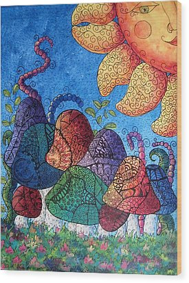 Tangled Mushrooms Wood Print by Megan Walsh