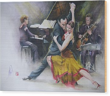 Wood Print featuring the painting Tango by Alan Kirkland-Roath