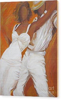 Wood Print featuring the painting Tango Blanco by Sheri  Chakamian