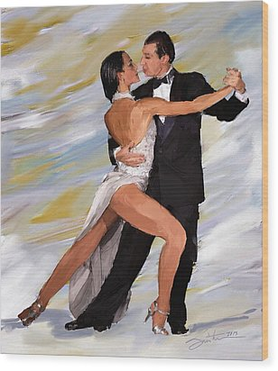 Tango Dancers Wood Print by Robert Smith