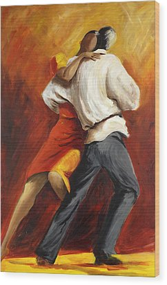 Wood Print featuring the painting Tango by Sheri  Chakamian