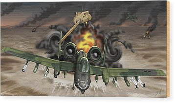 Tank Plinking With The A-10 Wood Print by Barry Munden