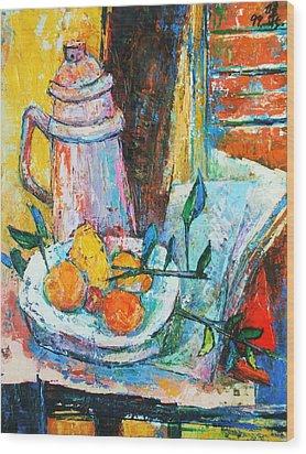 Tankard And Fruit Wood Print by Siang Hua Wang