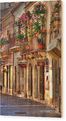 Taormina Balcony Wood Print by Michael Berry