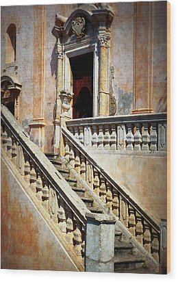Taormina Staircase Wood Print by Carla Parris
