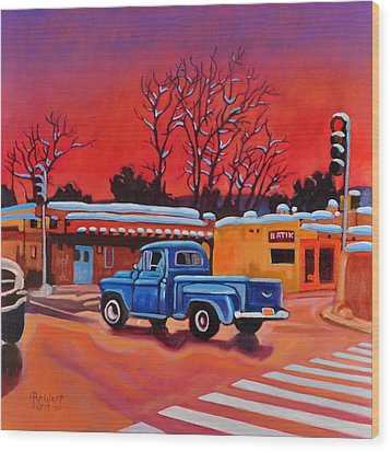Wood Print featuring the painting Taos Blue Truck At Dusk by Art West