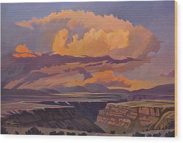 Wood Print featuring the painting Taos Gorge - Pastel Sky by Art James West