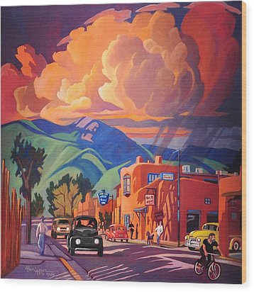 Wood Print featuring the painting Taos Inn Monsoon by Art James West